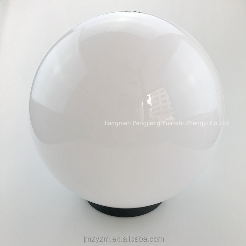 transparent milky white color pmma globe lamp shade 200mm