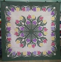 Hawaiian hand quilted wall hanging- irises multicolor