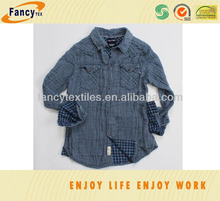 100pct cotton double layer indigo yarn dyed fashion shirting fabric