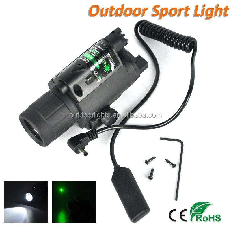 Gun Mount Hunting Search Light 650nm Q5 LED Green Laser Flashlight
