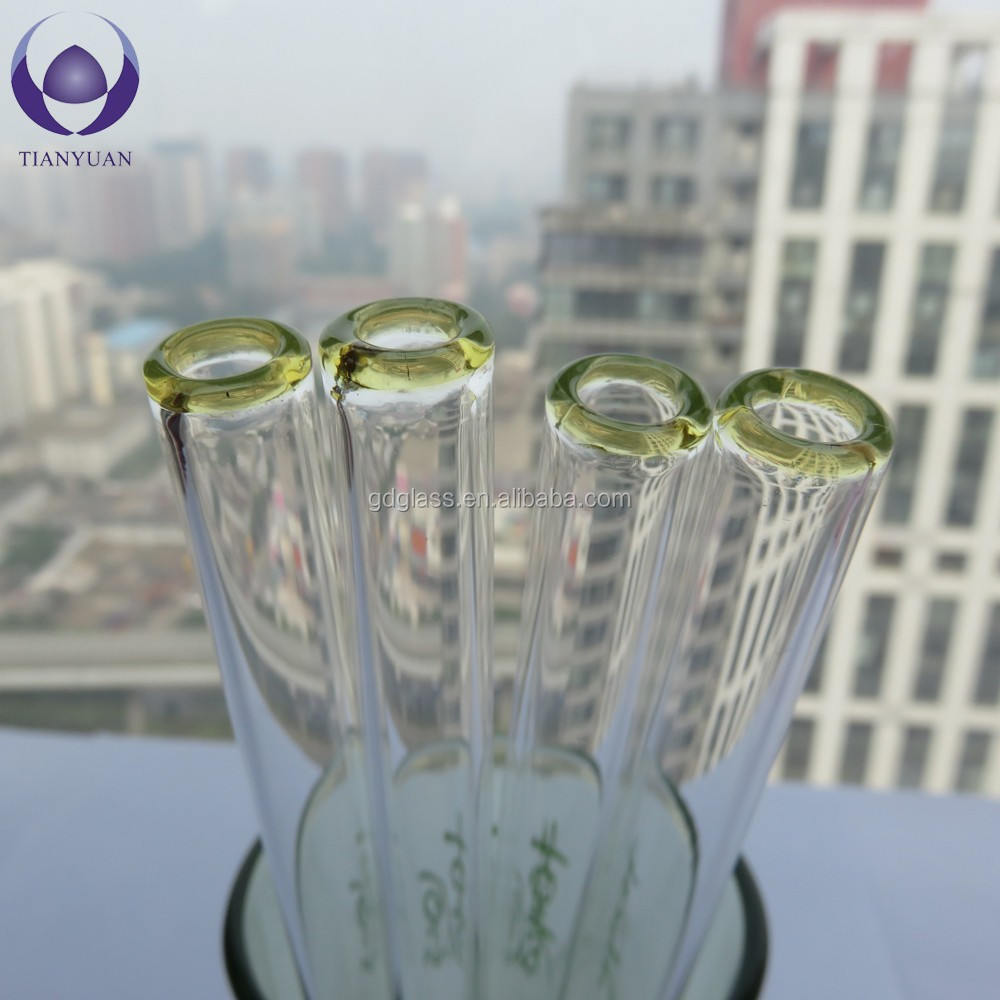 Reusable eco-friendly pyrex glass drinking straw