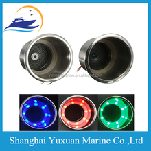 Blue Red Green Boat LED Cup Holder Stainless Steel LED Cup Drink Holder Marine Boat Car Truck Camper