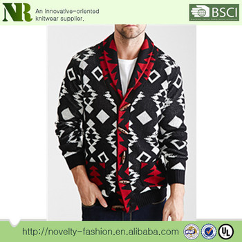 Mens Southwest Color Jacquard Shawl Collar Knitting Cardigan View