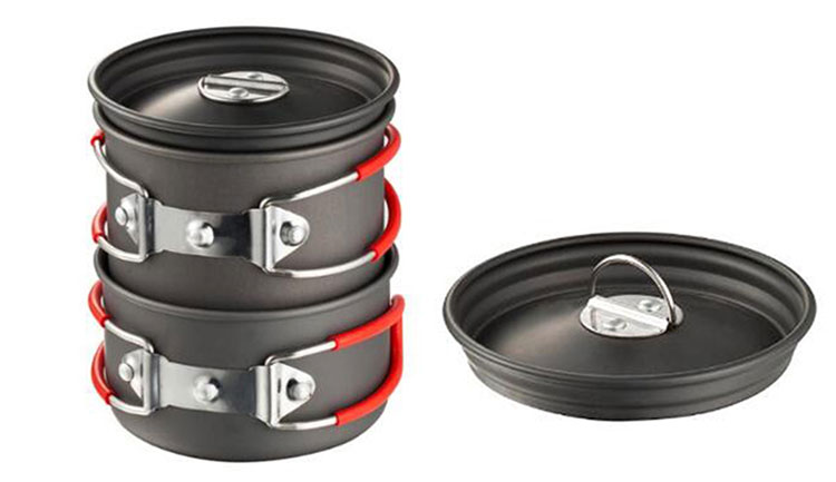 Red Outdoor Non-stick Anodized Aluminum Camping Pans and Pots Camping Cookware Set