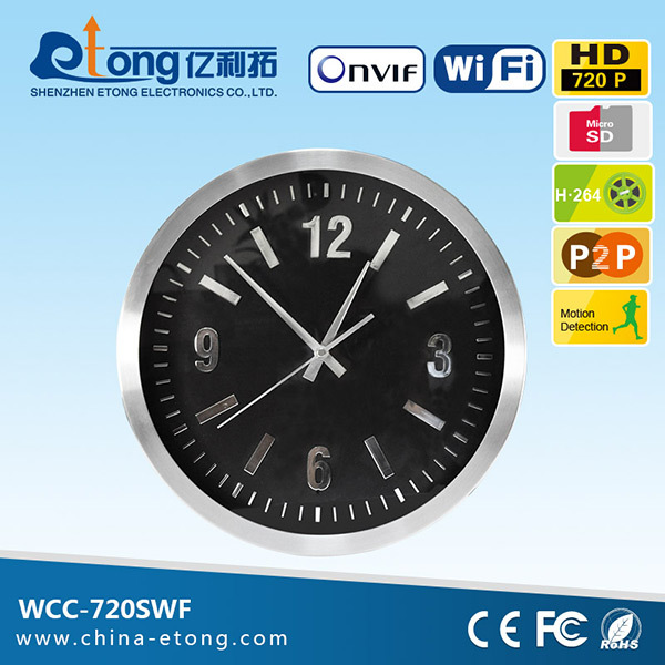 Candid wifi ip network TF card slot wall clock camera home surveillance wireless