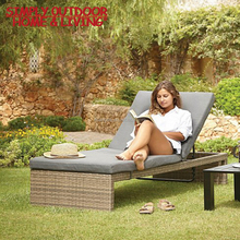 Wholesale Multi Position Black Cushions Patio Lounge Wicker Synthetic Rattan Plastic Sun Lounger