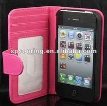 book style leather case pouch bag for iphone 4g 4s