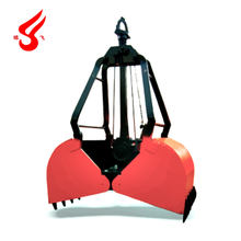 Mechanical four ropes grab clamshell bucket for crane
