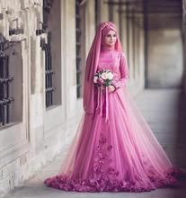 K3590A Custom Muslim Wedding Dress Plus Size New Design Dubai Arab Muslim Wedding Dress Wedding Gown