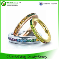 Beautiful Rainbow Color Stone vogue jewelry wedding rings