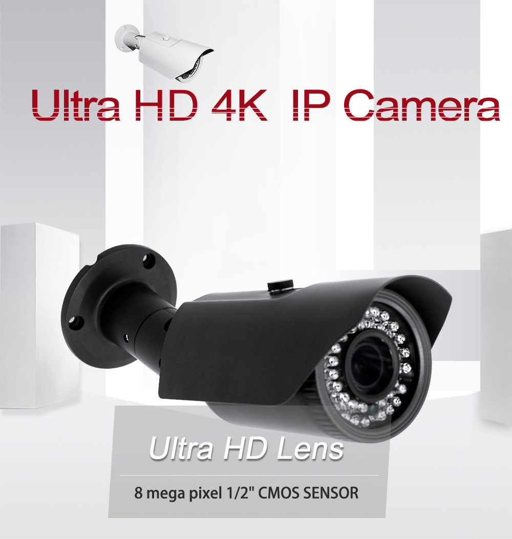 XONZ Ultra HD Outdoor IR Security Weather Resistant Bullet IP camera 4K