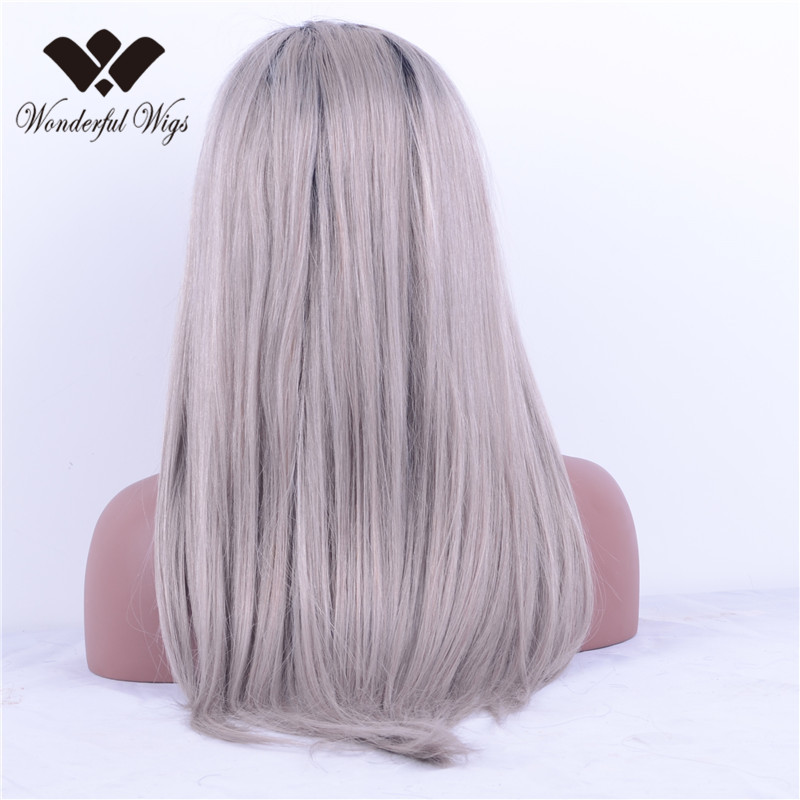Brazilian Full Lace Wig Ombre Two Tone #1b/gray Front Lace Wig Silky Straight gray color Human Hair Lace Wig