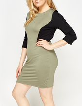 Fashion plus size 3/4 Sleeve Contrast Side Panel Sexy Bodycon dress For Women Party