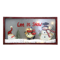 Christmas Wooden Hanging wall plaque with Painted Snowman on Frosted Glass with LED Light with words LET IT SNOW