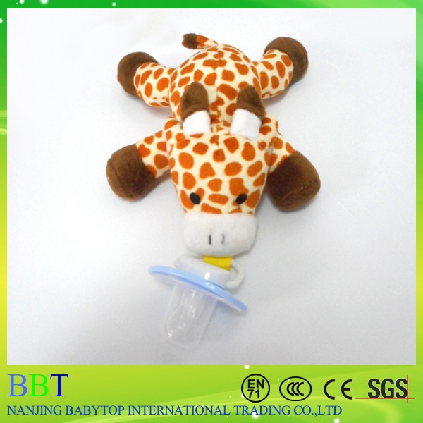 2017 Design Natural Rubber Plush Giraffe Animal Plush Pacifier