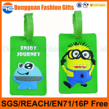 2014 new designs cartoon 3D character PVC luggage tag for travel