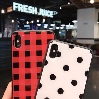 Black White Dots Phone Case For iPhone 6 6s Plus XS Max Wave Point Cover Hard Glass Case For iPhone XR X 8 7 Plus