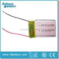 Ultra thin battery 3.7v 110mah li-ion polymer battery for wear device