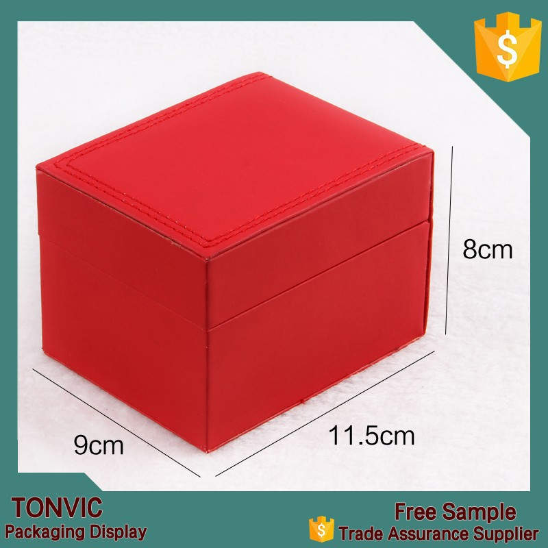 Handmade Red PU Watch Packaging Box With Beige Pillow Custom Made In China