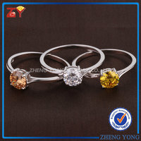2017 Fashion Jewellery Different Colors Cubic Zirconia Gemstone 925 Silver Rings