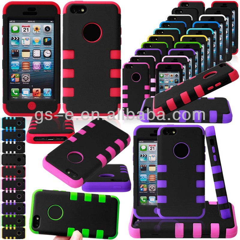 Six point robot silicone and PC 3 part hybrid cellphone case for iphone 5C / for iphone 5C combination case