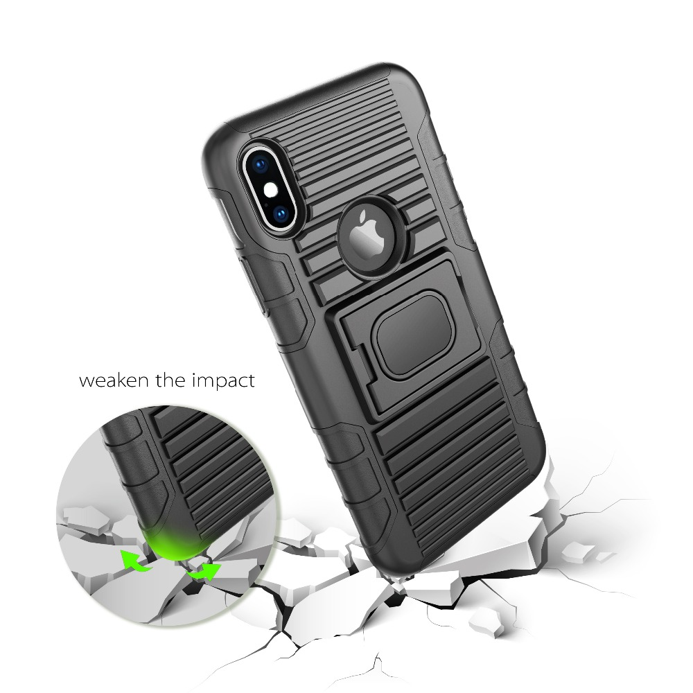 5 Functions in 1 holster combo case with ring holder hard cover for iphone 8/8 plus/x