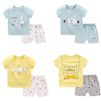 Hot sale cotton kids summer clothes child summer clothing set