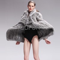 QD27587 Women's Fashion Clothes Knitted Long Rabbit Fur Coats 2016 New Apparel Bigger Size In Stock
