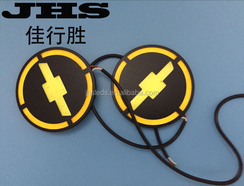 Dual color white yellow DRL turn light cob for car Chevrolet logo LED Round Flexible daytime running light for all car