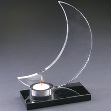 Hot Selling Moon Shape Crystal Candle Holder For Birthday Decoration