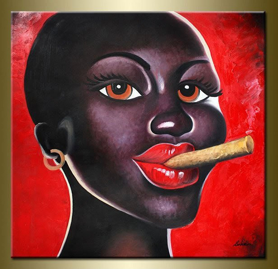 Wholesale Modern Canvas wall Decor Nude Black African Painting for Sex