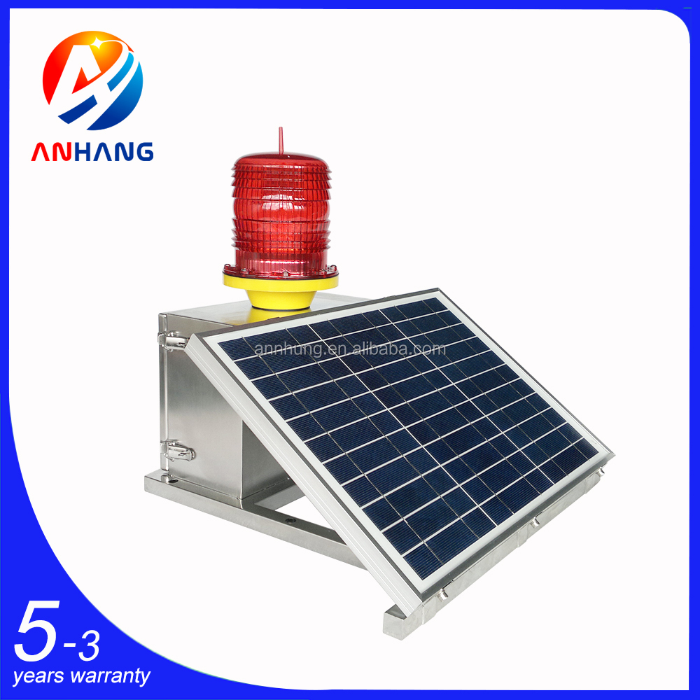 Medium-intensity Type B Solar Aviation Obstruction Light with Solar Panel Battery