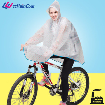 eco eva cycling rain coat for women nice printing transparent dull polish