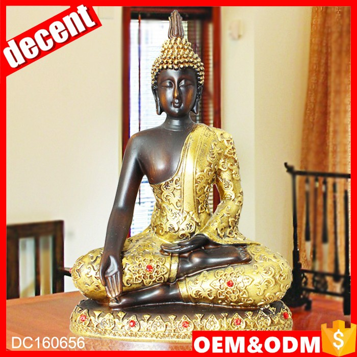 Gold resin artificial thai buddha statue