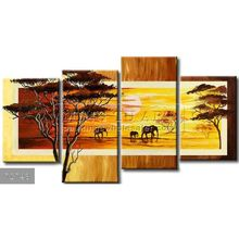 Handmade New Modern Group African landscape oil painting,Savannah area