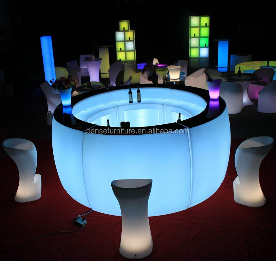 round bar table LED light furniture illuminated bar counter
