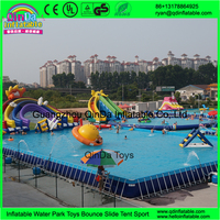 Summer Protable Water Park Playground Inflatable Above Ground Metal Frame Used Swimming Pool Slides