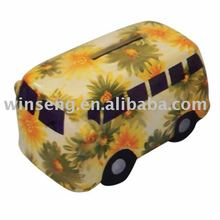 Hot Promotion Gift Ceramic Flower pattern Bus Shape Coin Bank