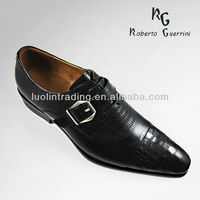 Latest formal genuine leather black dress mens shoes