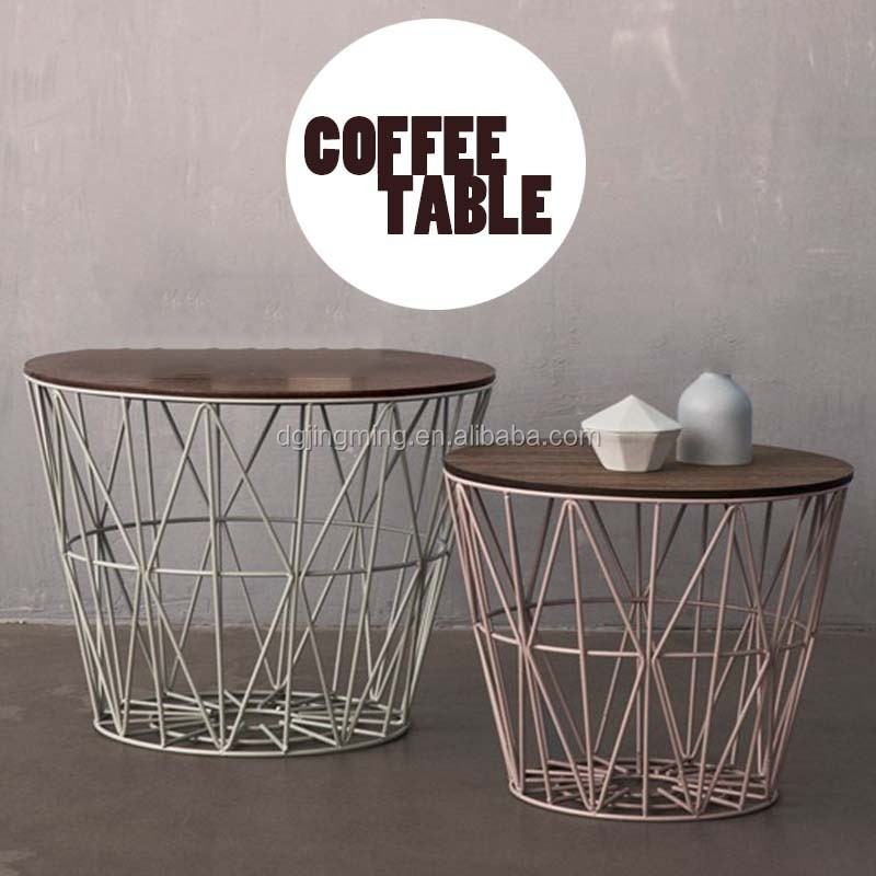 Contemporary Modern Design Wooden Top Metal Wire Coffee