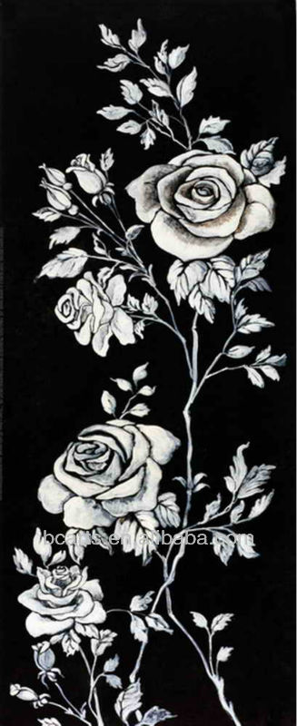 Pure hand-painted famous flower painting black and white pretty floral paintings rose flower canvas picture