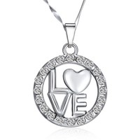 Cheap Promotional Gift Items Wholesale in Alibaba English Letter and Heart Circle Round Pendant Necklaces Jewelry 2015