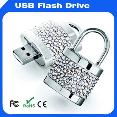 Silver lock type diamond USB flash drive for Promotional Gift,USB Flash 2.0 drive
