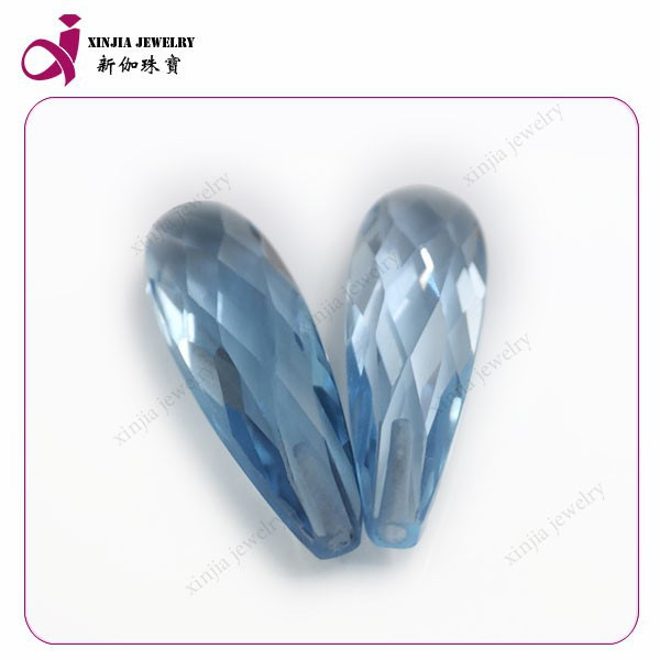blue drilling semi precious stones faceted teardrop spinal stones