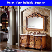 Luxury Furniture Antique Solid Oak Wood Floor Standing Bahroom Vanities Cabinet NO.1502 Was Basin