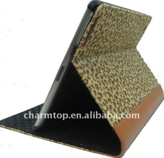 Furry Leopard Leather with Hard Back Case for iPad 2