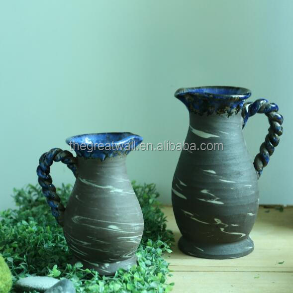 Wholesale jug shape terracotta planter, blue color and antique design flower pot