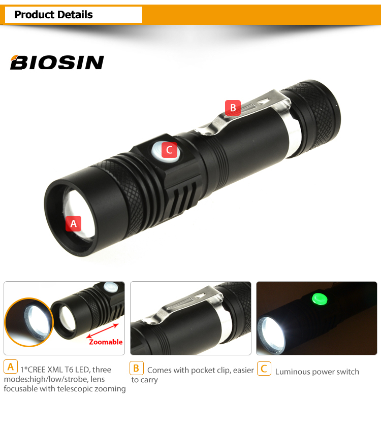 2018 Newest clip design XM-LT6 zoomable high power USB rechargeable  battery led torch light