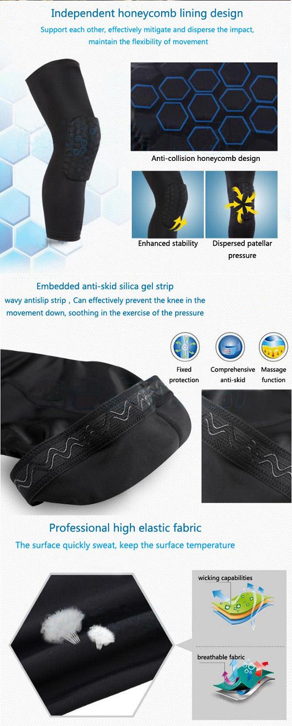 LC/_ Crashproof Basketball Leg Knee Long Sleeve Protector Gear Honeycomb Pad Pr