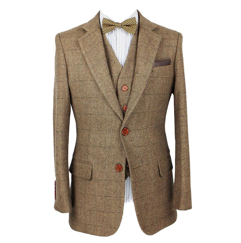 MOON BUNNY 2016 slim fit suits for men retro Brown Herringbone Tweed wedding custom mens suit wholesale MOQ 1set